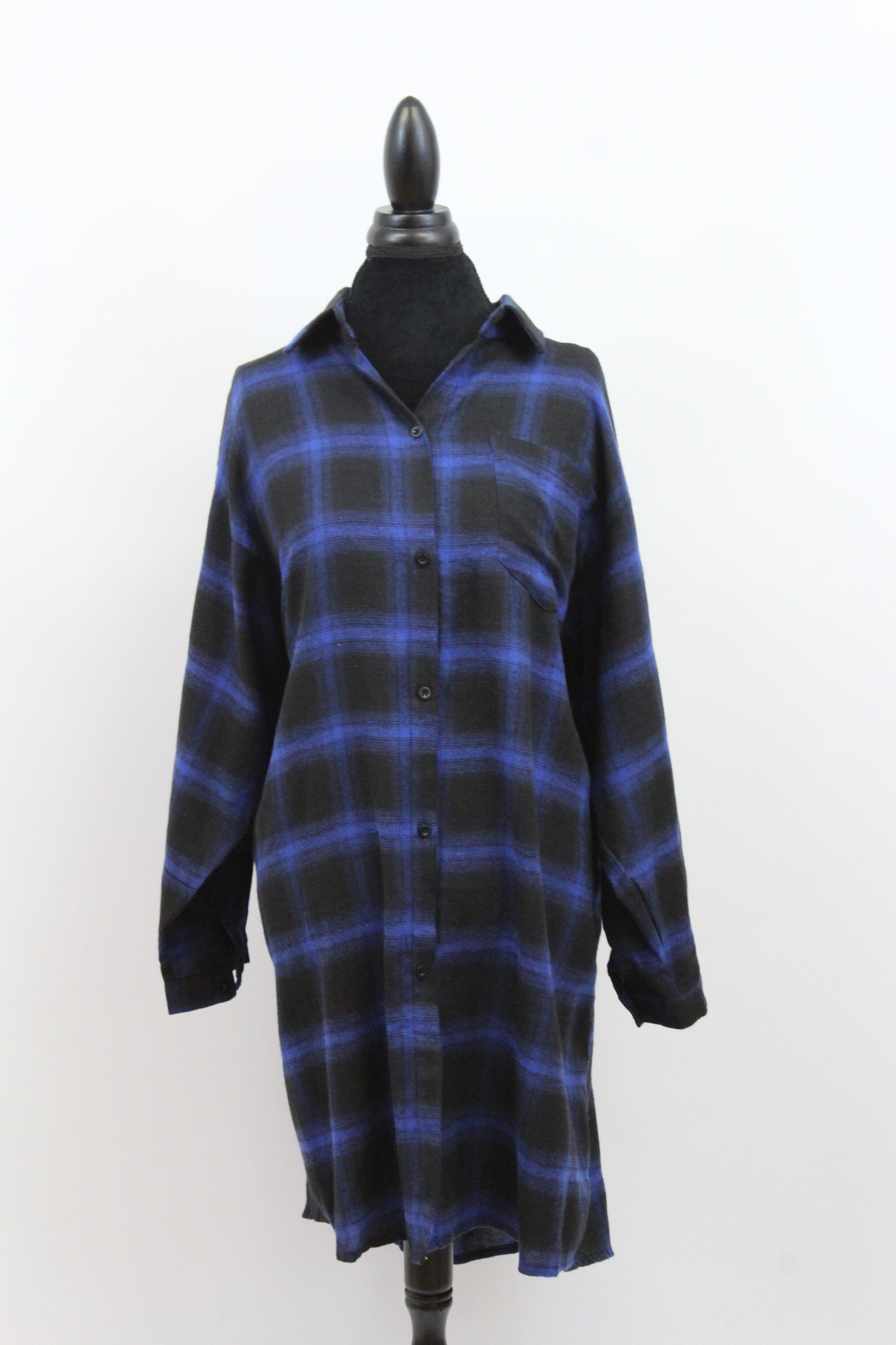 Free The People Plaid Long Oversize Long Sleeve Loose Fit Blouse in Green