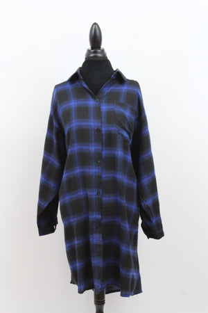 Free The People Plaid Long Oversize Long Sleeve Loose Fit Blouse in Red
