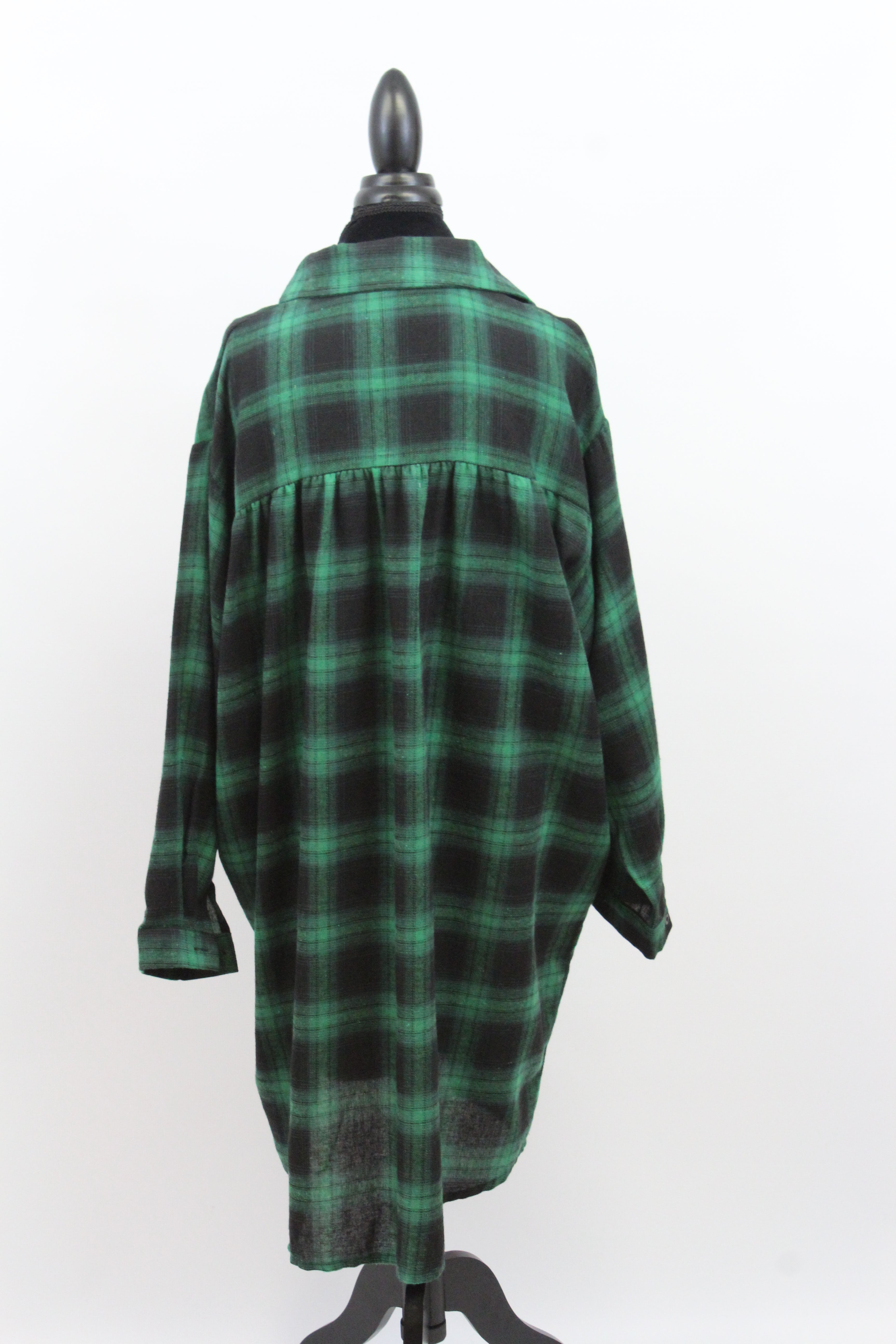 Free The People Plaid Long Oversize Long Sleeve Loose Fit Blouse in Blue