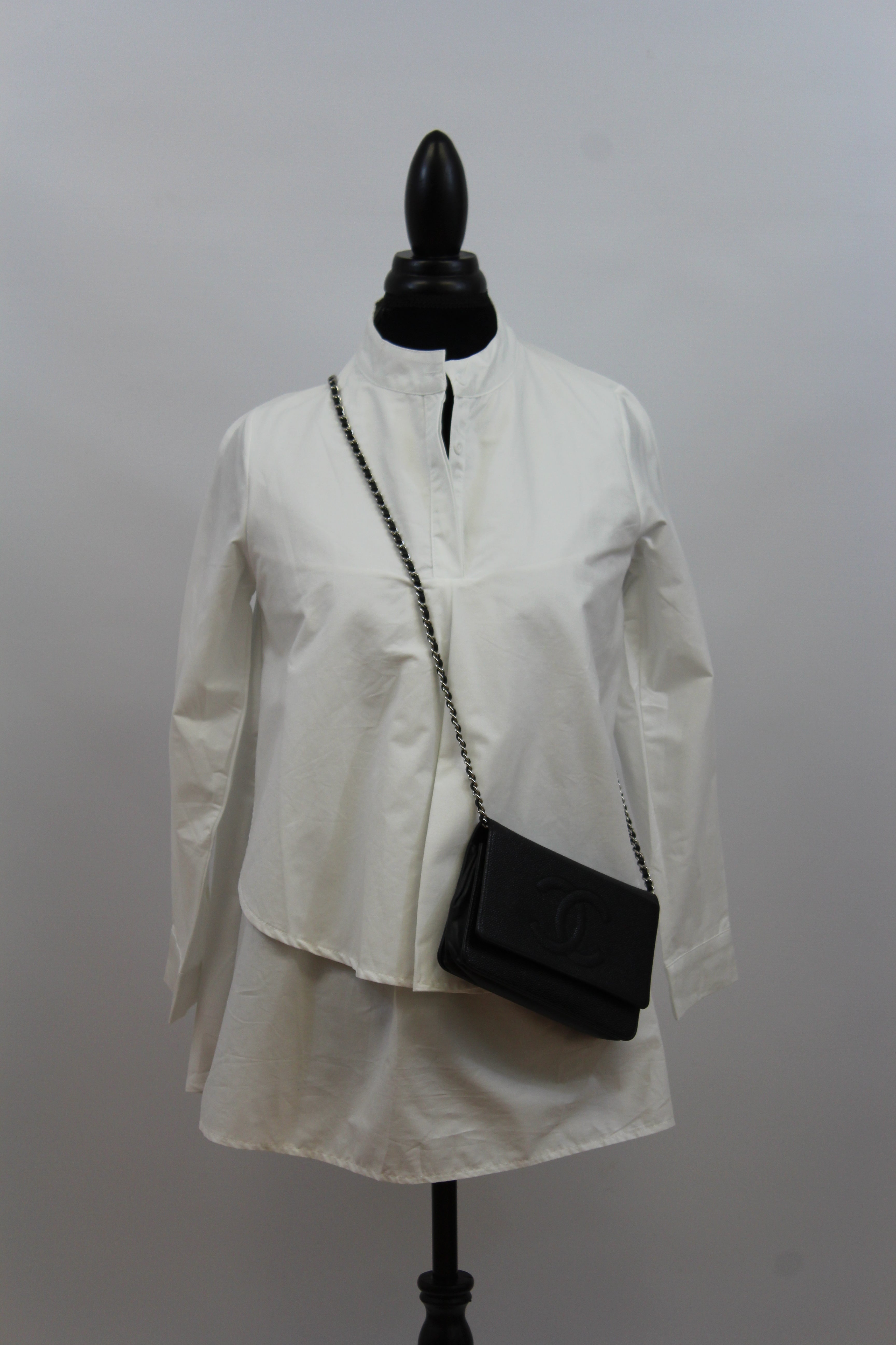 womens black white long sleeve blouse slenderizing fitted flowy double layered button down nordstrom chicos calvin klein cotton tunic