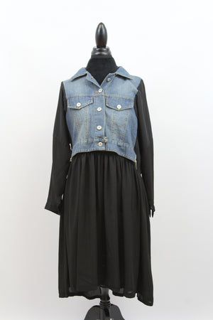 black chiffon polyester denim vest dress long sleeve full figure plus size fuller figure slenderizing flattering levi flowy oversize