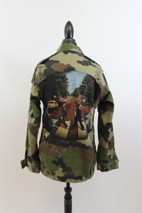 The Beatles: One Of A Kind Vintage Band Patch Distressed Camo Jacket