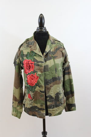 womens jacket camo vintage embroidery fatigues rose military free people street style nordsrom army coat