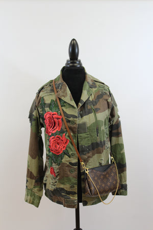 womens jacket camo vintage fatigues embroidery rose military free people street style nordsrom army coat