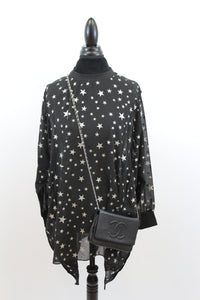 Lucky Star Oversize Tunic In Black
