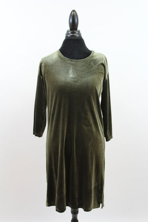 Crush On You Velvet Tunic Dress in Olive