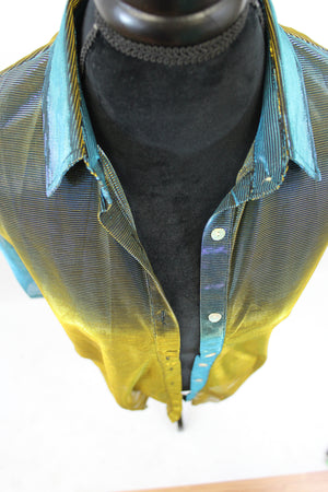iridescent sheer blouse laying piece green gold purple pink button collar sparkly evening wear casual