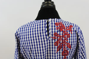 Picnic Me Blue White Plaid Top with Embroidery and Bell Sleeve