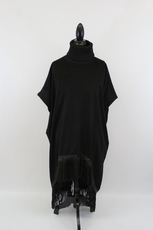 Despacito Black Wool Blend Tunic With Fringe
