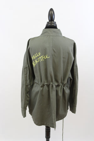Green utility plus size embroidery army jacket oversize street style urban edgy military