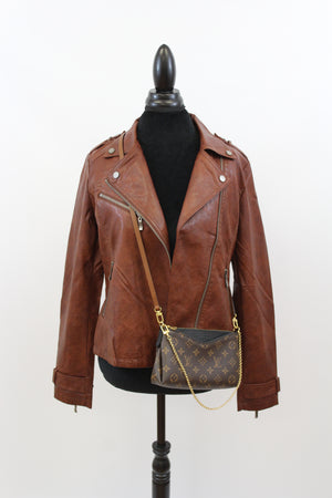 Easy Rider Vegan Leather Motorcycle Jacket in Dark Rust