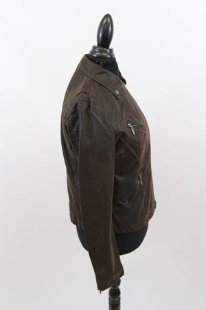 Easy Rider Vegan Leather Motorcycle Jacket in Espresso
