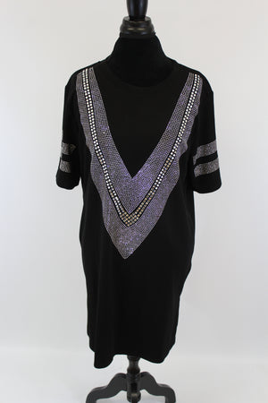 women black rhinestone casual tunic dress top sporty stripes spandex