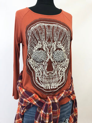 women tshirt skull lace rhinestone long sleeve cream orange black motorcycle halloween biker