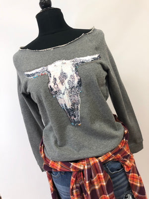 women mermaid sequin cow print longhorn gray off the shoulder sweat shirt fall top