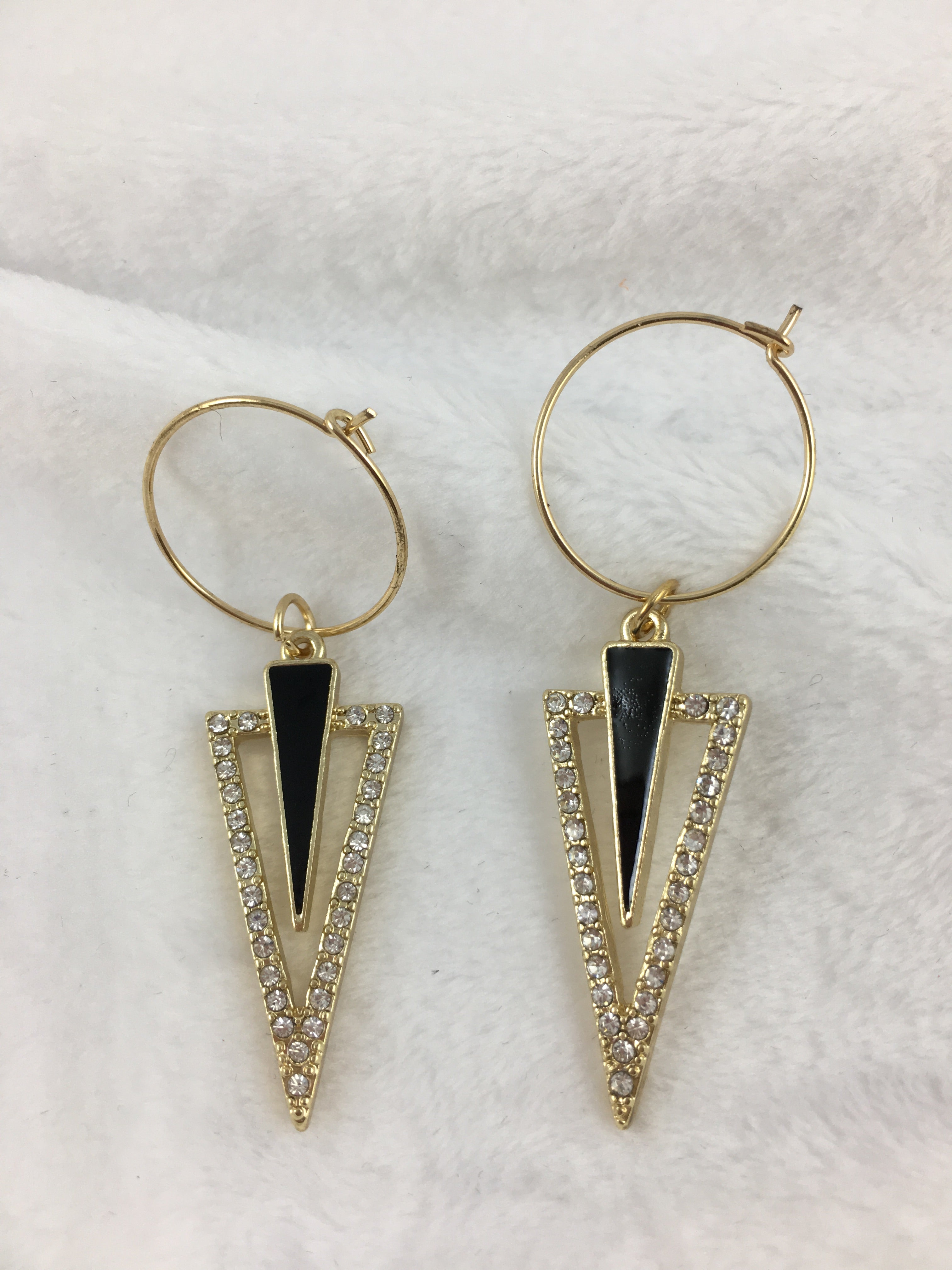Triangle Dangle Wire Earring In Black and Crystal
