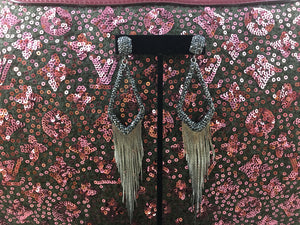 Fringe It Pave Hematite Crystal Dangle Earrings