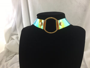 Choke Me in Ring Choker Necklace in Iridescent