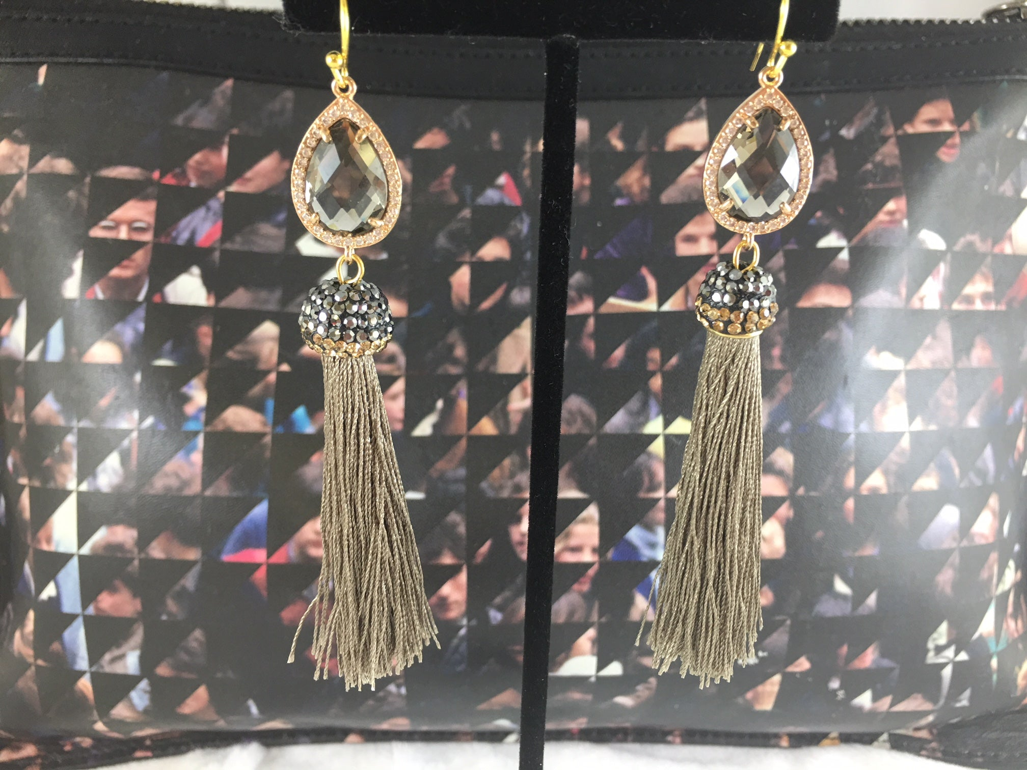 Tassel Me Long Silk Tassel With Ziron Druzy And Rhinestone Crystal