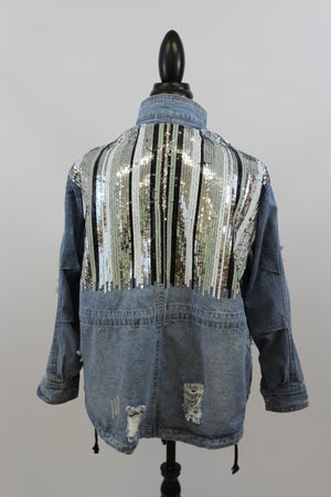 Ice Princess Sequin Distressed Denim Jacket