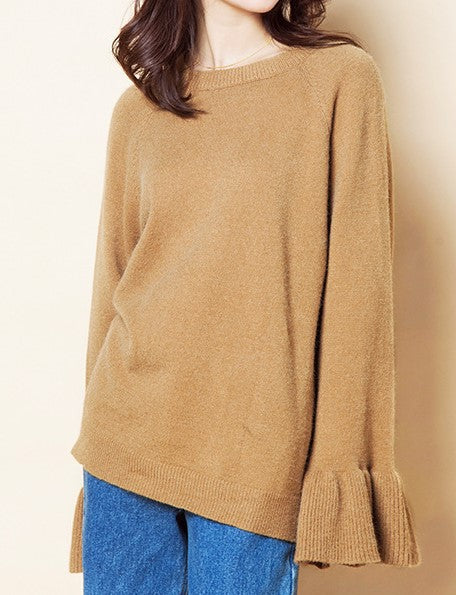 Paint This Town Bell Sleeve Sweater In Camel