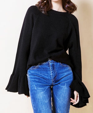 Paint This Town Bell Sleeve Sweater In Black
