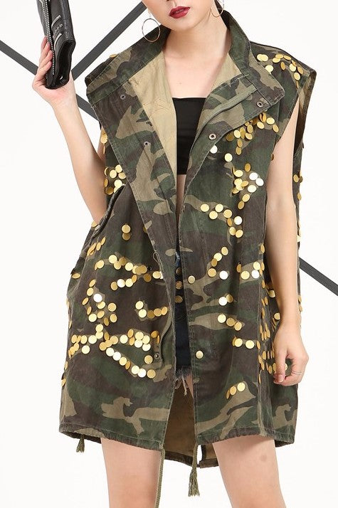 fatigues womens vest sequin camo vintage embroidery rose military free people street style nordsrom army coat