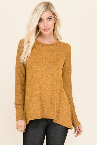 Celeste Light Knit V-Neck Swing Sweater In Mustard