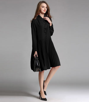 Take Me To Church Chiffon Pleated Oversize Dress In Black