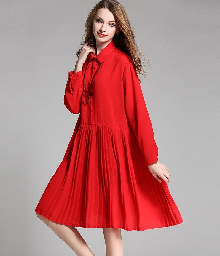 Take Me To Church Chiffon Pleated Oversize Dress In Red