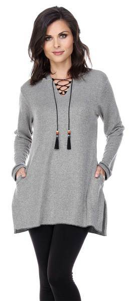 Indian Winter Lace Up Heather Gray Tunic