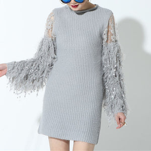You Are My Candy Girl Fringe Sweater Dress