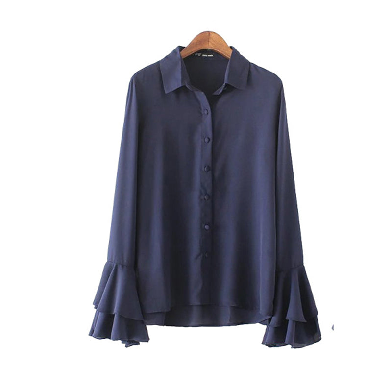 You Can Ring My Bell Sleeve Button Down Blouse