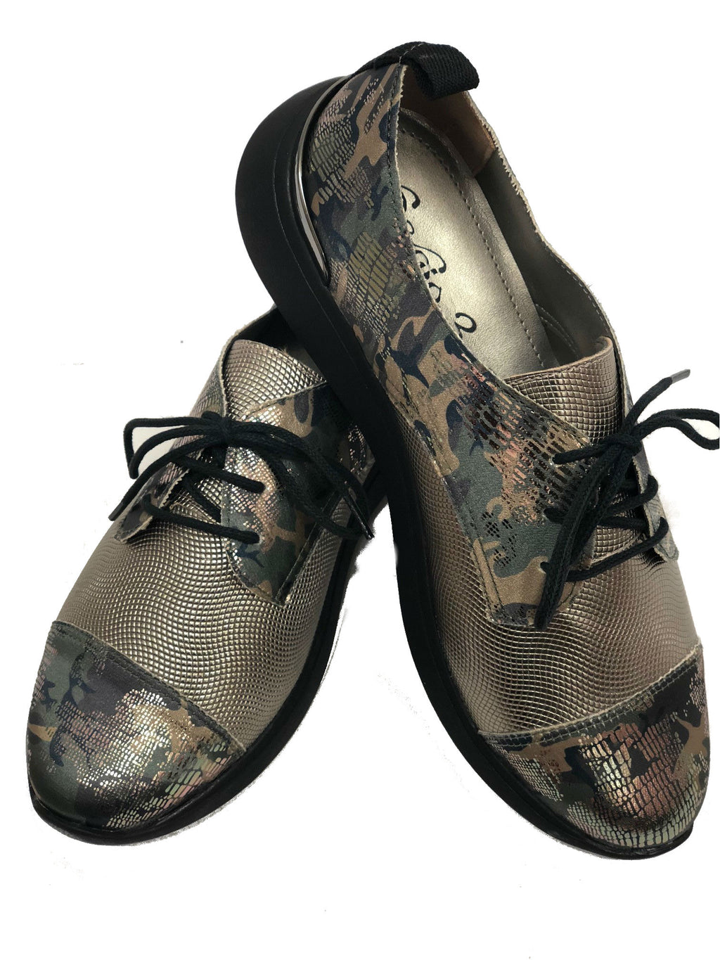 women camo metallic leather tie flat casual tennis comfort