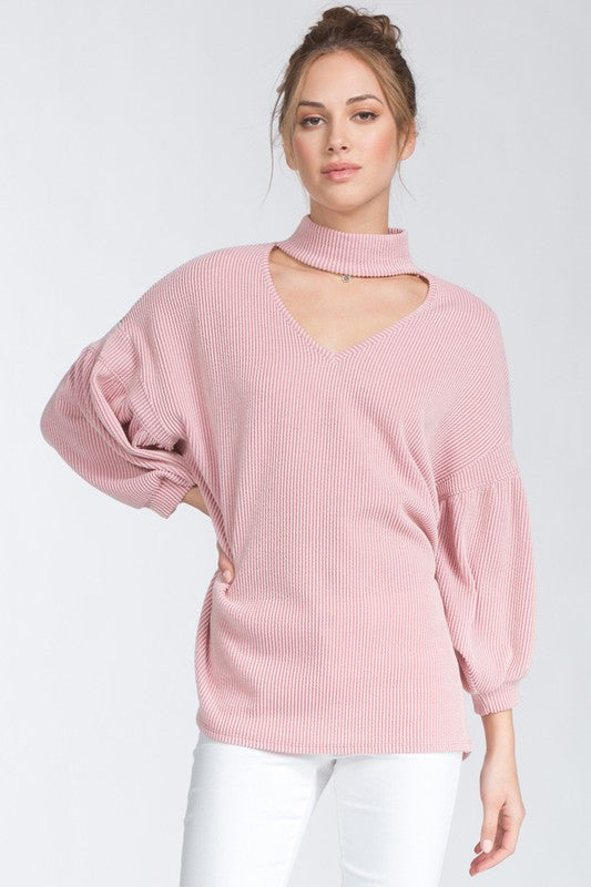 womens pink blush three quarter sleeve choker mid weight blouse top shirt