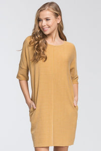 dress knit loose fit round neck three quarter sleeve drop shoulder pockets stretch knit banded sleeves