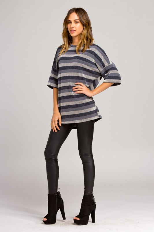 women loose fit round neck elbow length boxy sleeves drop shoulder striped soft stretch knit top