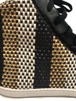 high top tennis shoe multi colored strip woven leather metallic gold black lace light weight fashion forward