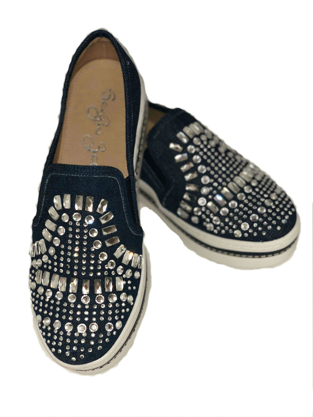 denim slip on shoe with rhinestones and comfort insole flat boat shoe casual shoes with rhinestones