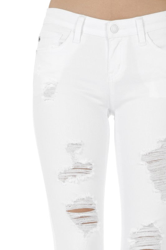 womens white jean distressed destroyed skinny stretch jean
