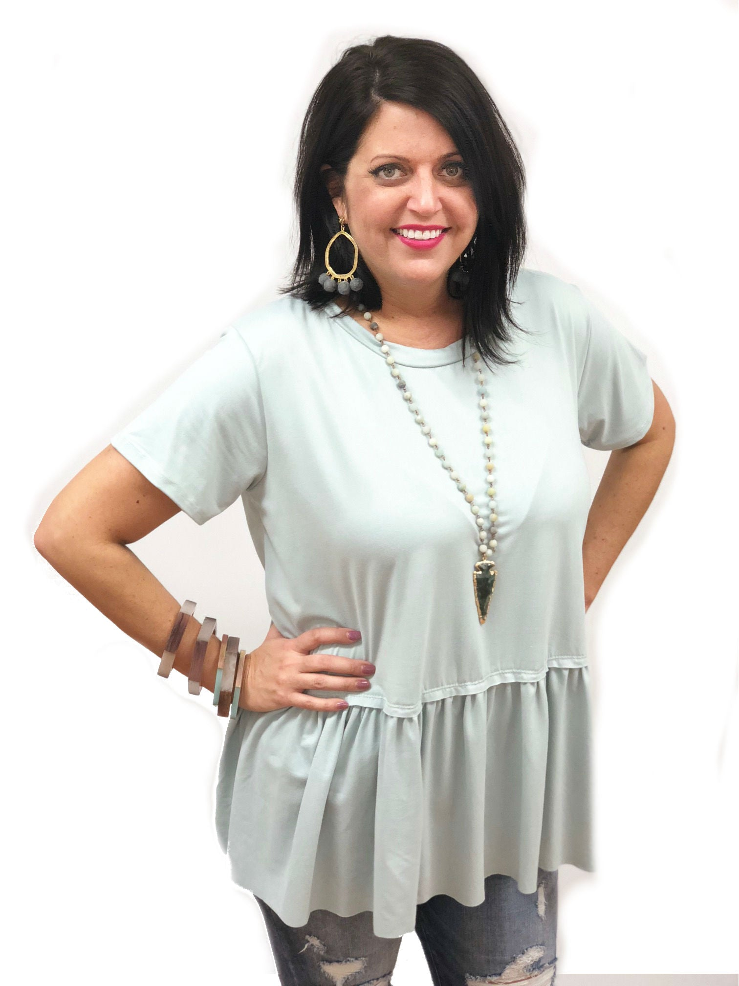 plus size full figure casual comfortable top with peplum drop waist and short sleeves mustard and aqua spa blue