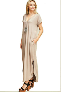 women v-neck high low pockets slit detail at side non sheer light weight maxi bathing suit coverup
