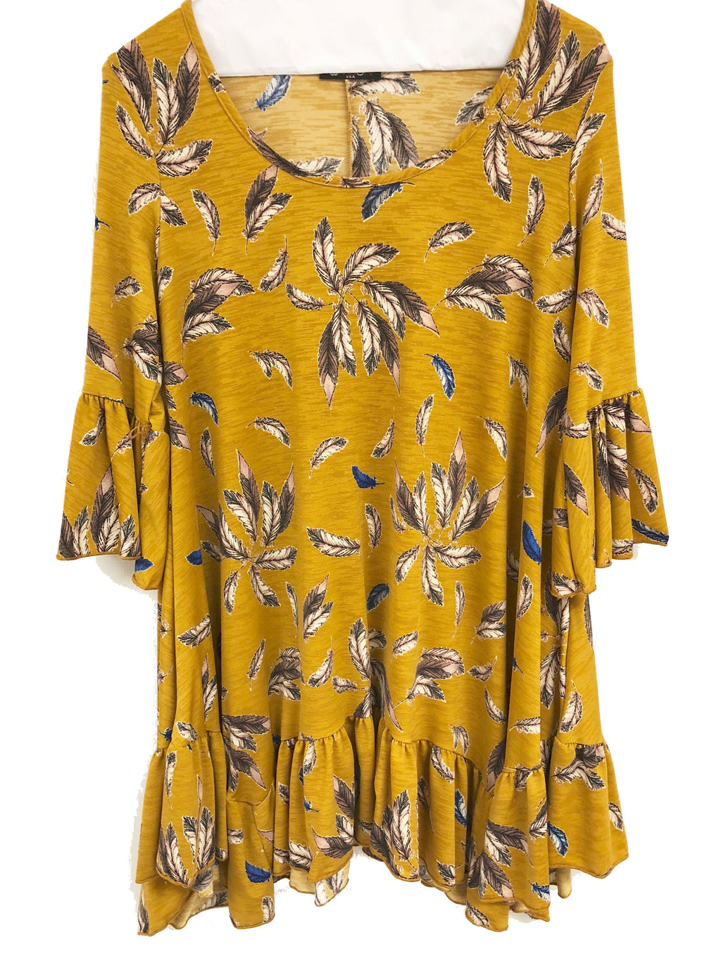 tunic mustard black feather print three quarter sleeves ruffle small to plus size