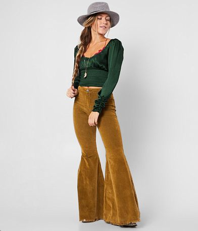 Free People Cord Bell Bottom Gold