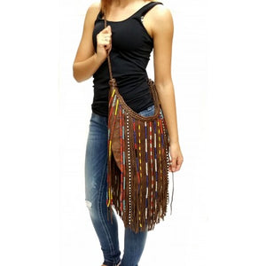 Fringe Beaded Crossbody - Brown