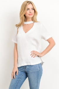 women White mock neck choker short sleeve zipper in the back blouse