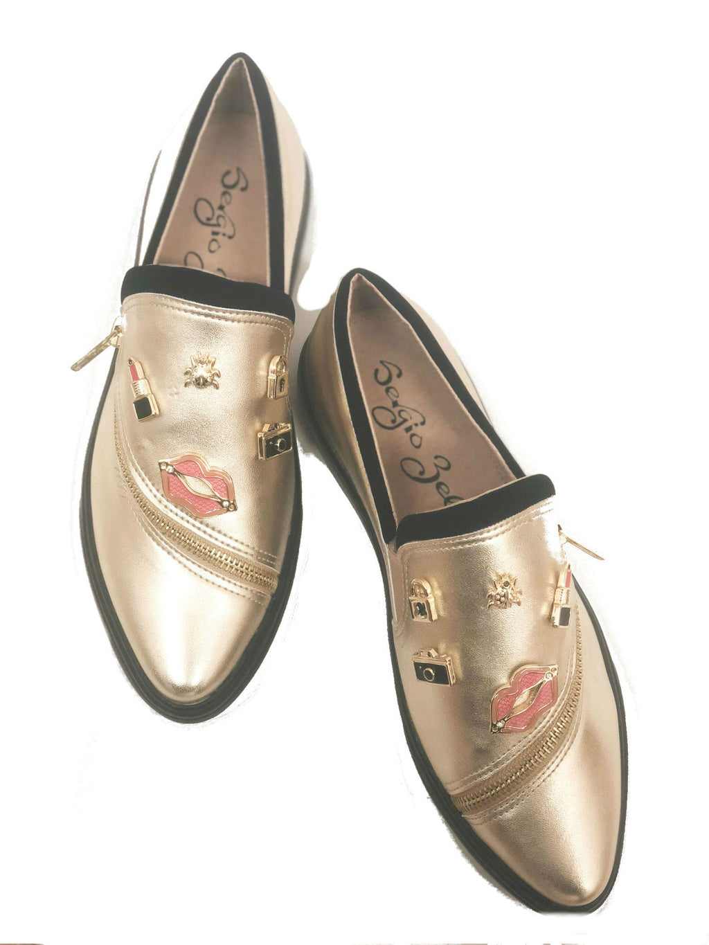 womens leather metallic slip flat comfort on loafer with zipper detail and embellished