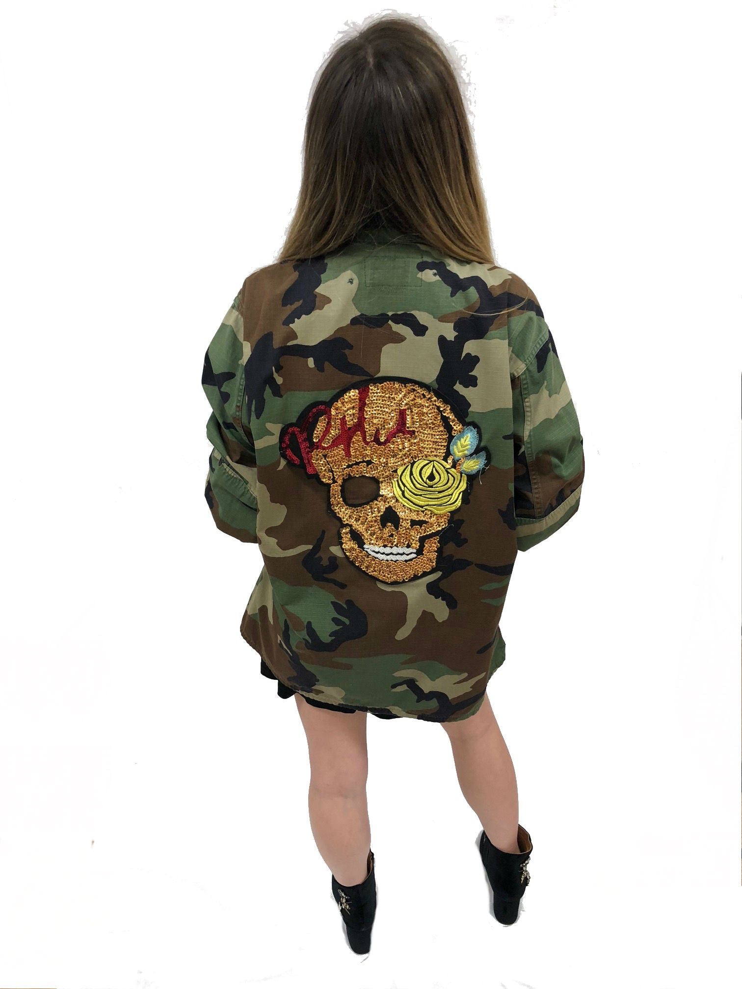 47c4fe07901af camo jacket skull sequin vintage rock band grunge street wear coat sequin