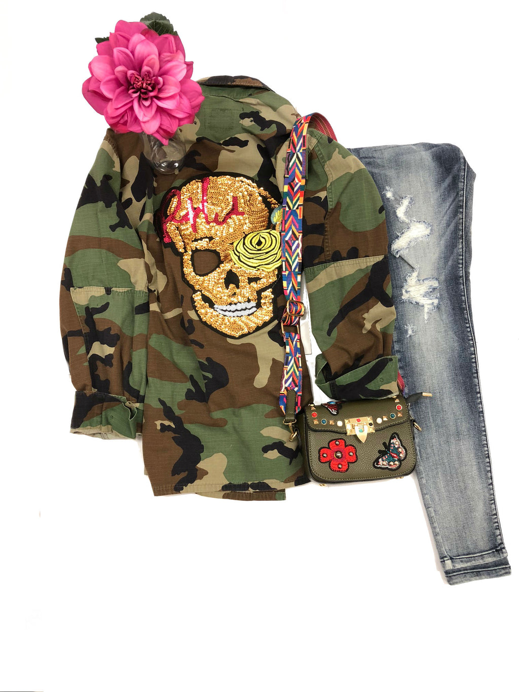 camo jacket skull sequin vintage rock band grunge street wear coat sequin