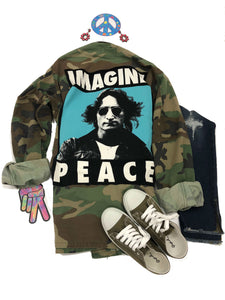 camo jacket John Lennon Imagine Peace vintage rock band grunge street wear coat sequin